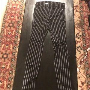 Pants - Black and white stripe jeans
